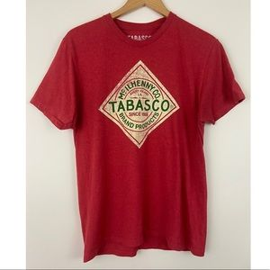 Tabasco Distressed Logo Red Casual SS T-Shirt Sz M